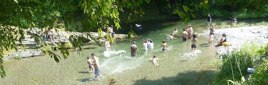 真夏の川遊び